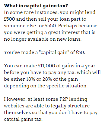 P2P ISA and capital gains tax