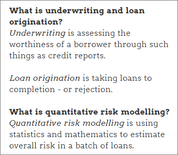 Underwriting, loan origination and risk modelling