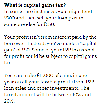 Capital gains tax on P2P lending