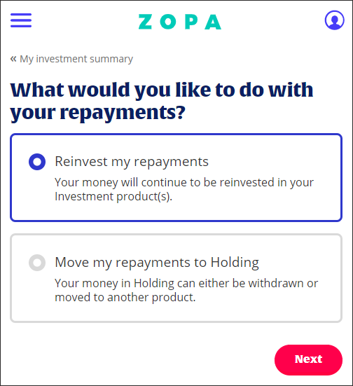 Zopa - re-lending borrower repayments
