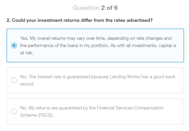 Lending Works Appropriateness Test Question 2