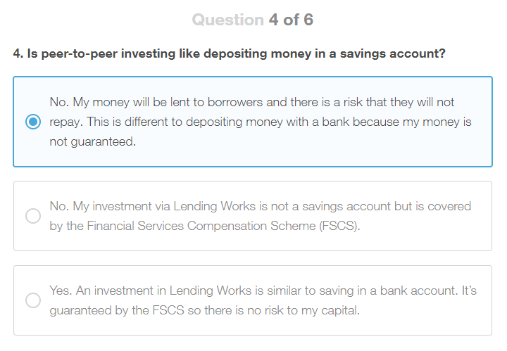 Lending Works Appropriateness Test Question 4