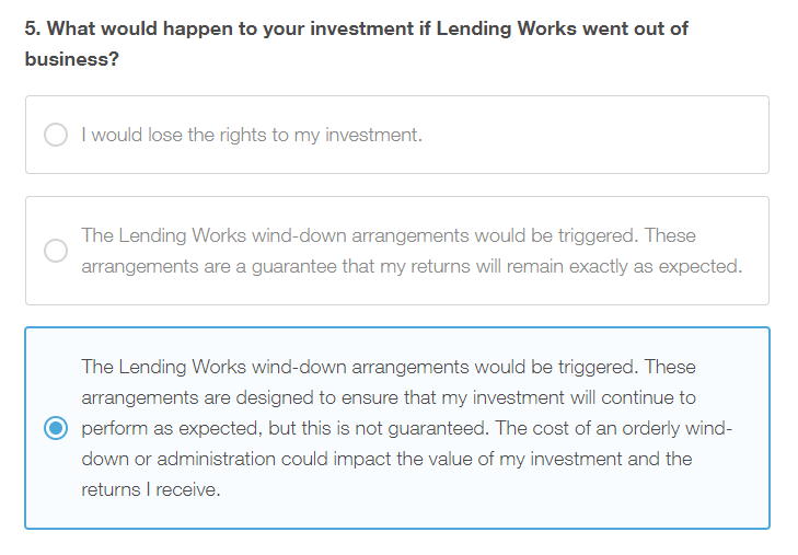 Lending Works Appropriateness Test Question 5