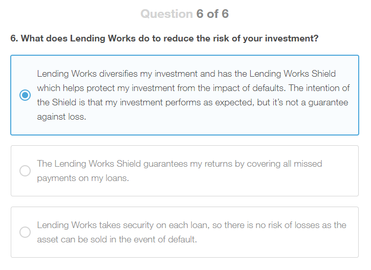 Lending Works Appropriateness Test Question 6
