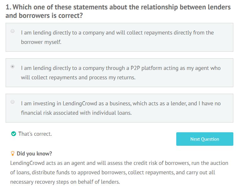 LendingCrowd appropriateness test question 1