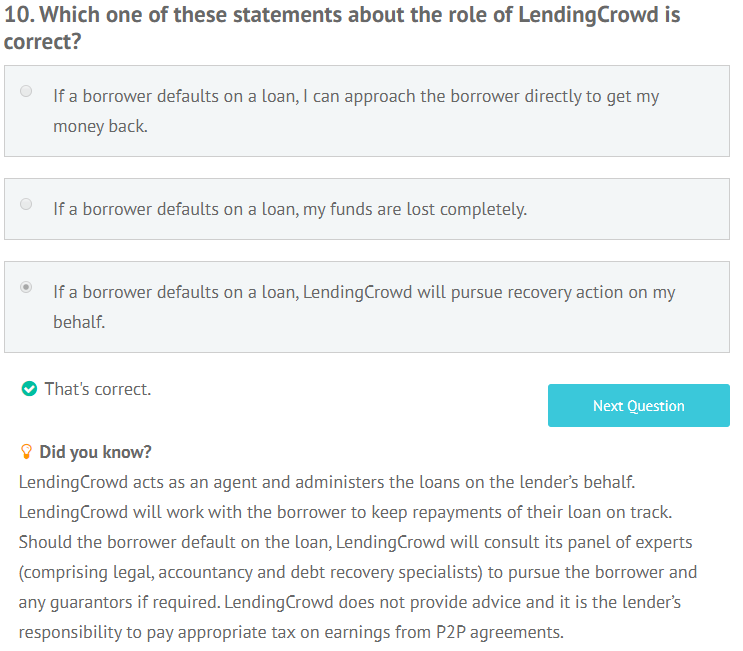 LendingCrowd appropriateness test question 10