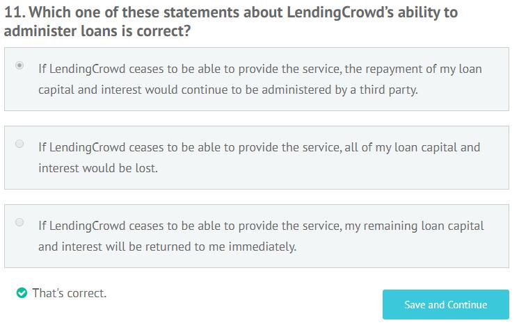 LendingCrowd appropriateness test question 11