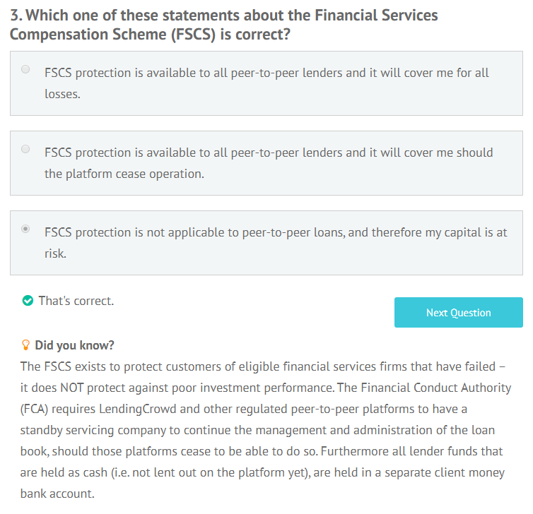 LendingCrowd appropriateness test question 3