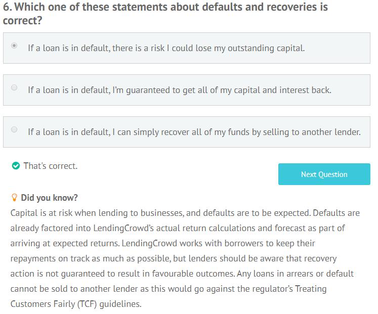 LendingCrowd appropriateness test question 6
