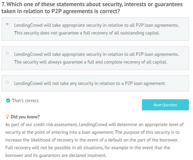 LendingCrowd appropriateness test question 7