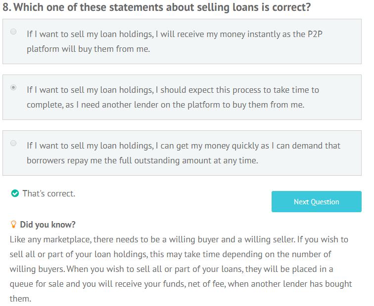 LendingCrowd appropriateness test question 8