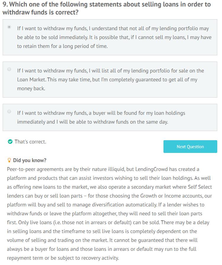 LendingCrowd appropriateness test question 9